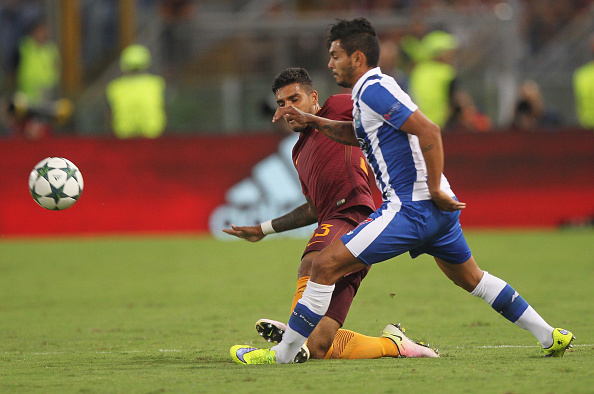 during the UEFA Champions League qualifying play-offs match between FC Porto and AS Roma on August 24, 2016 in Rome, Italy.